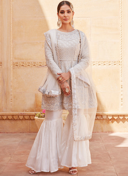 White Heavy Embroidered Gharara Suit
