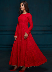 Red Thread Embroidered Anarkali