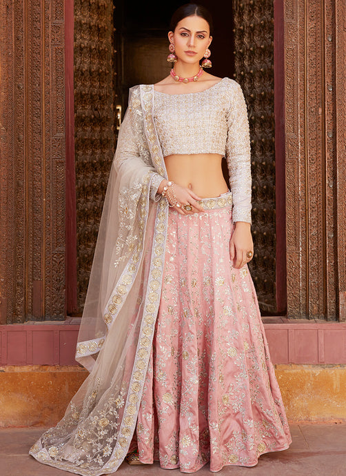 Pink and Grey Heavy Embroidered Lehenga