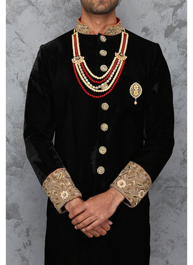 Red and Black Velvet Sherwani