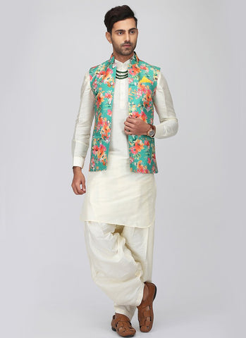 White Pathani Suit Set with Floral Waistcoat