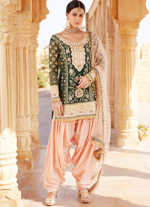 Emerald Green and Blush Pink Embroidered Punjabi Suit