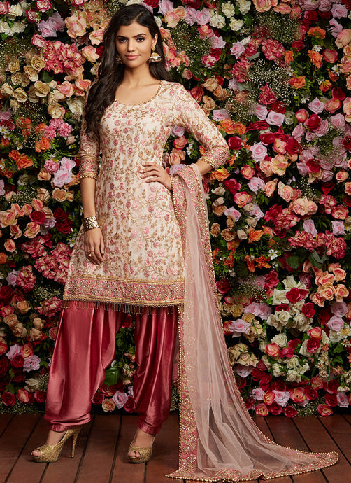 Rose Pink Sequins Embroidered Punjabi Suit