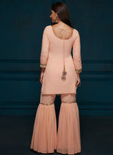 Peach Thread Embroidered Gharara Suit