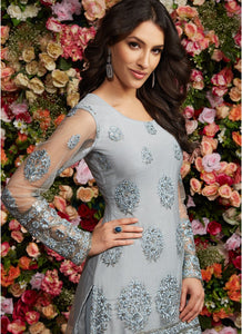 Dusty Blue Grey Embroidered Gharara Suit