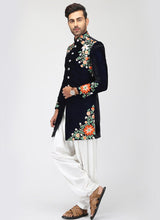 Navy Blue Embroidered Indo Western Set