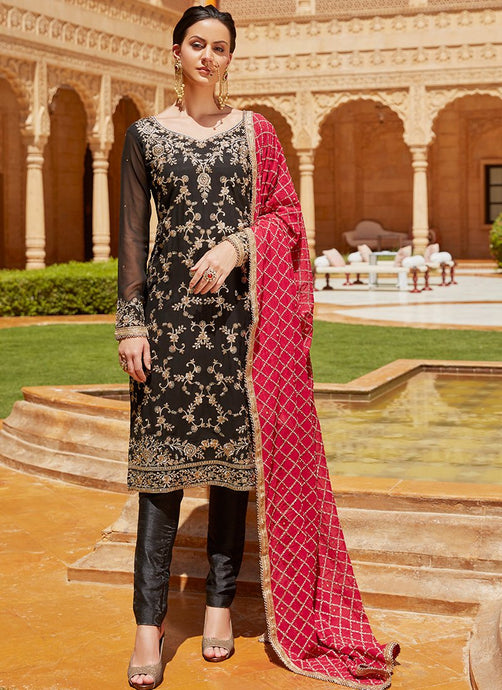 Black Embroidered Straight Suit With Hot Pink Dupatta