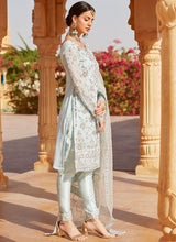 Baby Blue Embroidered Straight Suit