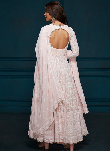 Light Pink Thread Embroidered Anarkali