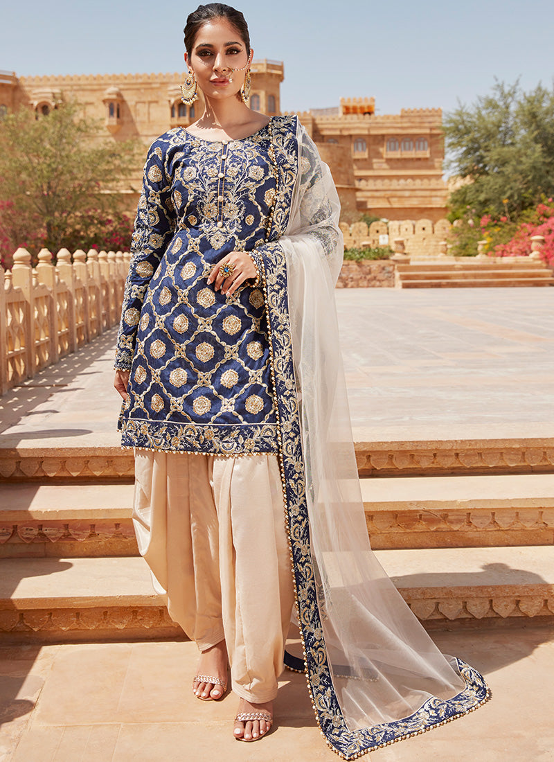 Navy Blue and Golden Beige Embroidered Punjabi Suit