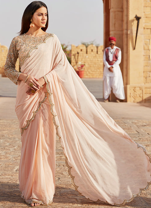 Blush Pink Heavy Embroidered Saree