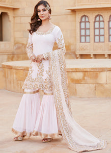 Light Pink and Gold Embroidered Gharara Suit