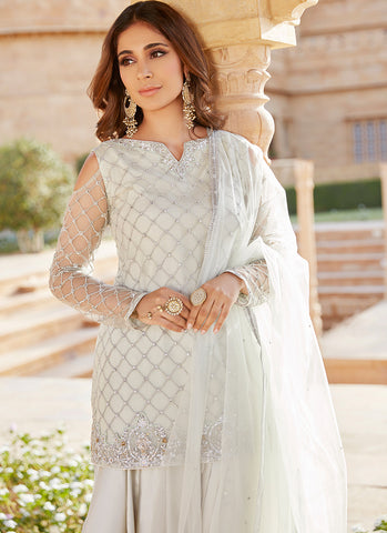 Light Dusty Mint Cold Shoulder Punjabi Suit
