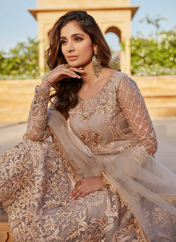 Dusty Beige and Blush Heavy Embroidered Anarkali