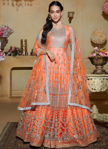 Light Peachy Pink Embroidered Net Anarkali Suit