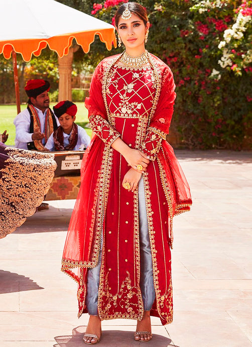 Deep Red Double Slit Pant Style Anarkali