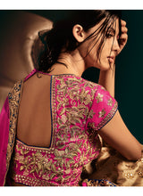 Beige and Pink Embroidered Lehenga - Lashkaraa
