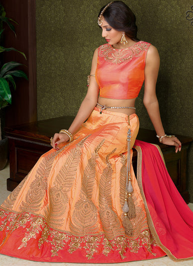 Peach and Pink Embroidered Lehenga