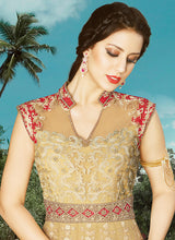 Red and Beige Embroidered Anarkali Suit