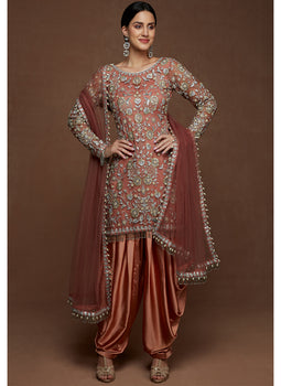 Dusty Rose Embroidered Punjabi Suit