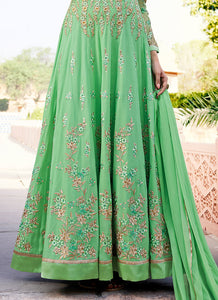 Green Floral Embroidered Royal Georgette Anarkali