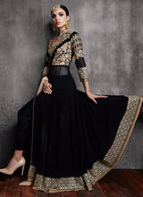 Black Pant Style Embroidered Anarkali