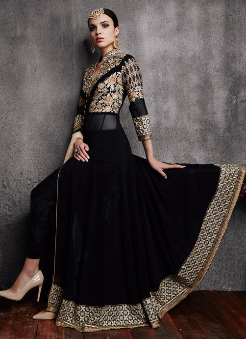 Black Pant Style Embroidered Anarkali - Lashkaraa