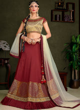 Burgundy and Cream Embroidered Lehenga - Lashkaraa