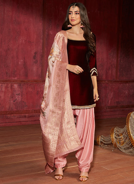 Maroon And Pink Velvet Punjabi Suit With Brocade Dupatta