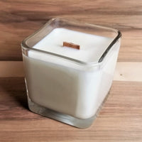 Afterglow hand poured soy candle with wood wick, square candle jar