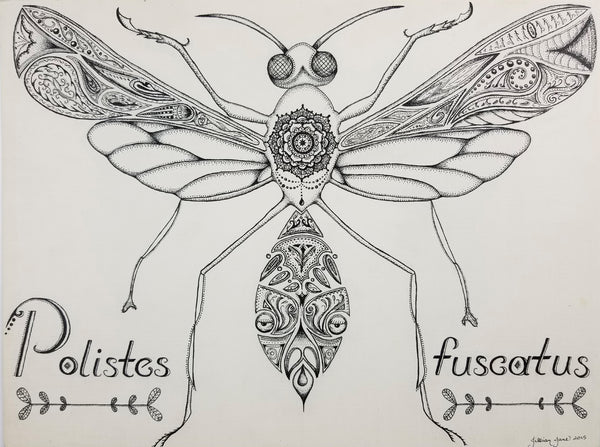 pen & ink art, nature art, paper wasp, zendoodle, zentangle, polistes fuscatus