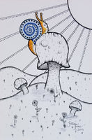 Happy snail on a mushroom, mushroom art, fungus art, pen & ink, India ink