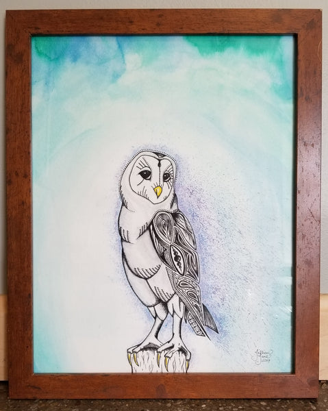 Zendoodle barn owl, zentangle barn owl, pen & ink, watercolor, barn owl art, framed original art