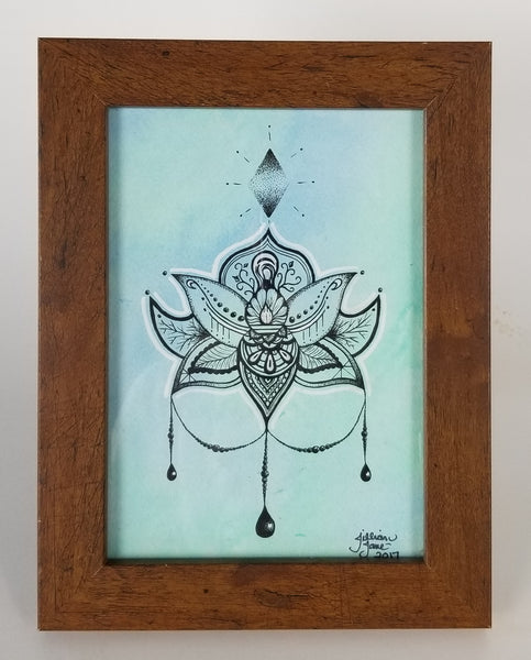 Zendoodle lotus, zentangle lotus, pen & ink, India ink, framed original art