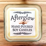 Afterglow hand poured soy candle with wood wick, hand stamped label