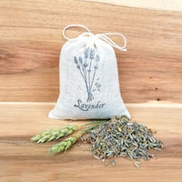 dried lavender sachet, hand stamped linen bag