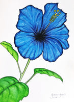 blue flower art, pen & ink, watercolor, original artwork