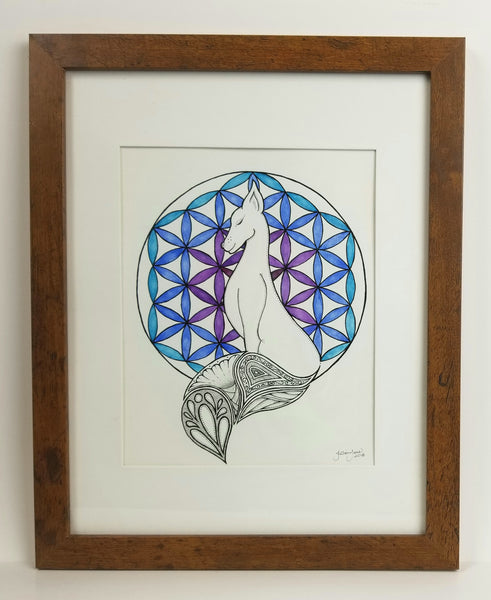 Fox with tree of life, pen & ink, watercolor, framed original art