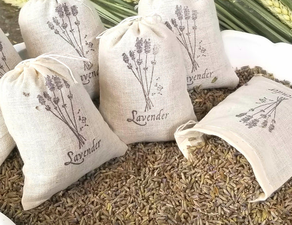 Dried french lavender sachet, lavender toss, dried lavender, wedding favor, baby shower favor, hand stamped linen bag