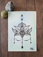 tie dye art, pen & ink, watercolor, zendoodle lotus, zentangle lotus