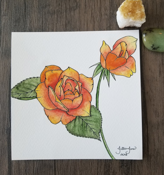 orange roses, tattoo art, pen & ink, giclee print, art print, tattoo inspiration