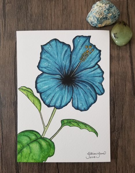 giclee print, blue flower art, watercolor art, art prints for sale, nature art