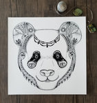 giclee print, panda art, zendoodle, zentangle, pen & ink