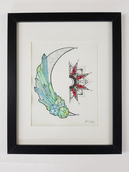 Crystallized Moon, Framed Watercolor Original