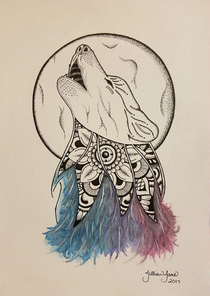 custom art, commissioned art, wolf tattoo
