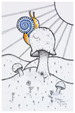 happy snail on mushroom art, fungus art, pen & ink, India ink, giclee print, art print