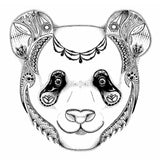 Panda art, zendoodle panda, zentangle panda, pen & ink, art print, black and white art, B&W art