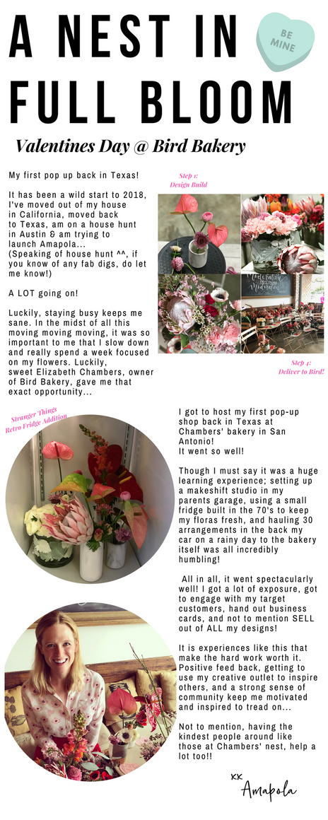 A Nest In Full Bloom; Valentines Day Pop Up @ Bird Bakery