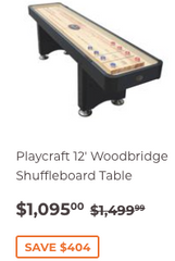 12' Playcraft Woodbridge Shuffleboard Table