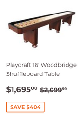 16' Playcraft Woodbridge Shuffleboard Table